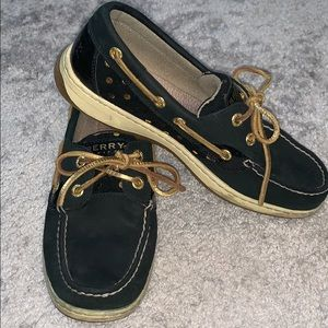 Sperry black and gold polka dots size 7